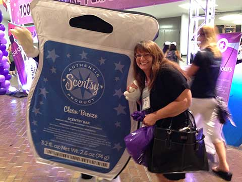 Scentsy Director Mary Gregory with Funny Scentsy Bar Guy