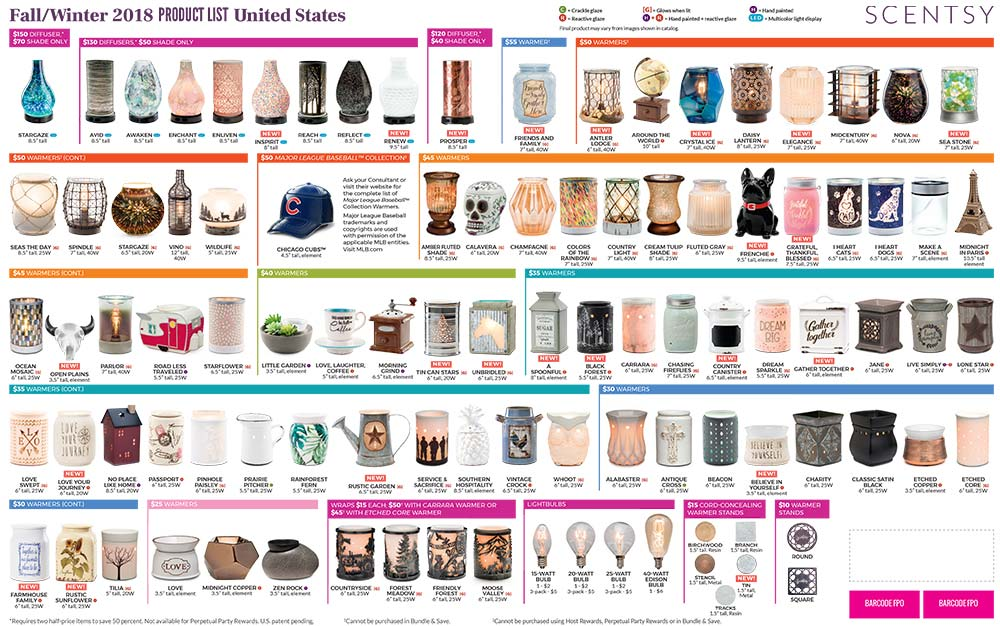 Scentsy Product List 2018/2019 - Fall/Winter