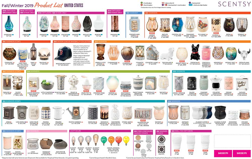 Scentsy 2019 Fall/Winter Product List Page 1