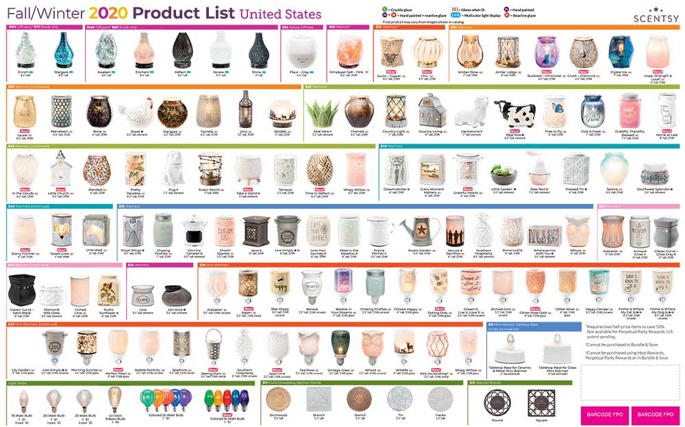 Scentsy Fall/Winter Product List 2020 Page-1